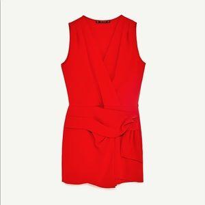 Zara Pants - Zara Smoldering Wrap Bold Sunset Red Romper